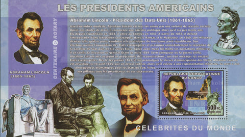 Congo American Presidents Abraham Lincoln United States Statue Sov. Sheet MNH