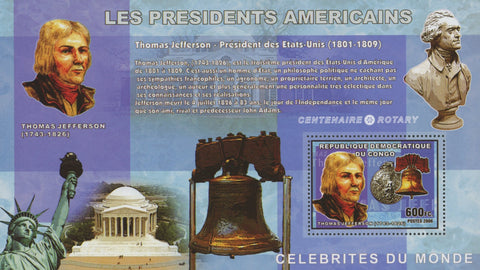 Congo American Presidents Thomas Jefferson United States  Sov. Sheet  MNH