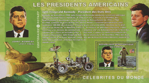 Congo American Presidents John F. Kennedy Moon Space Astronaut Sov. Sheet MNH