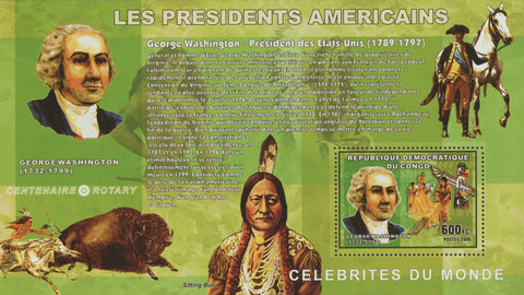 Congo American President George Washington Souvenir Sheet Mint NH