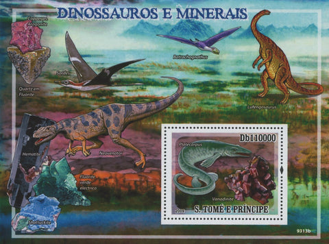 Dinosaurs and Minerals Quartz Souvenir Sheet MNH