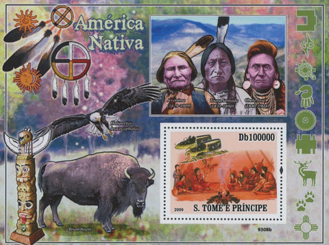 São Tomé and Príncipe Native Americans Eagle Bison Souvenir Sheet MNH