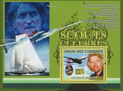 Famous Scouts Souvenir Sheet Airplane Boat Mint NH