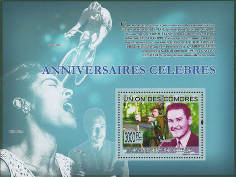 Comoros Famous Anniversaries Music Sports Movies Souvenir Sheet Mint NH