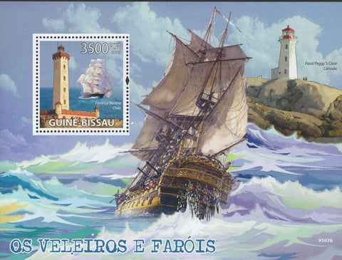 Sailboats Lighthouses Sea Waves Ocean Souvenir Sheet Mint NH