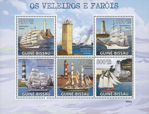 Famous Sailboats and Lighthouses Ocean Souvenir Sheet of 5 Stamps MNH
