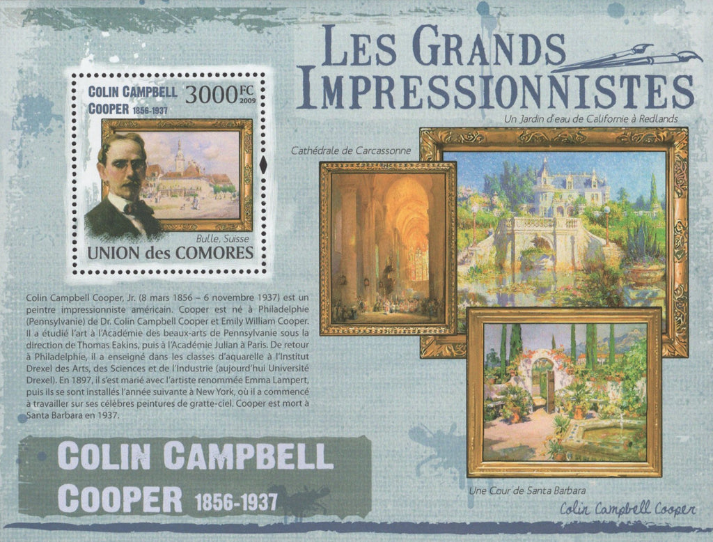 Famous Impressionist Colin Campbell Cooper Souvenir Sheet Mint NH