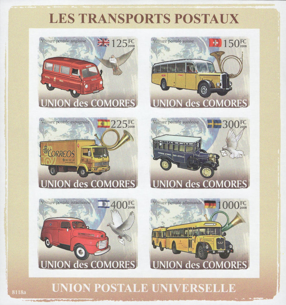 Postal Transportation Imperforated Sov. Sheet of 6 Stamps MNH