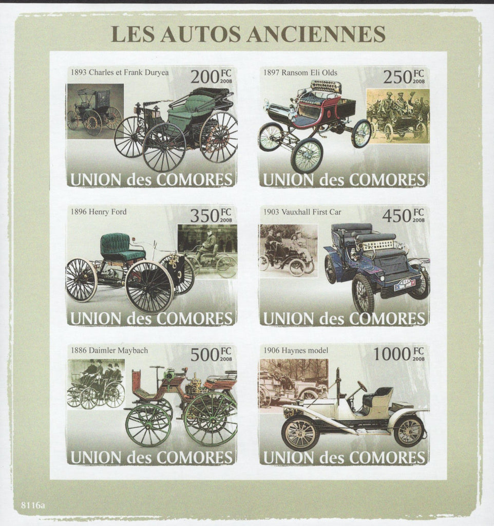 Old Cars Transportation Imperforated Sheet of 6 Stamps Mint NH