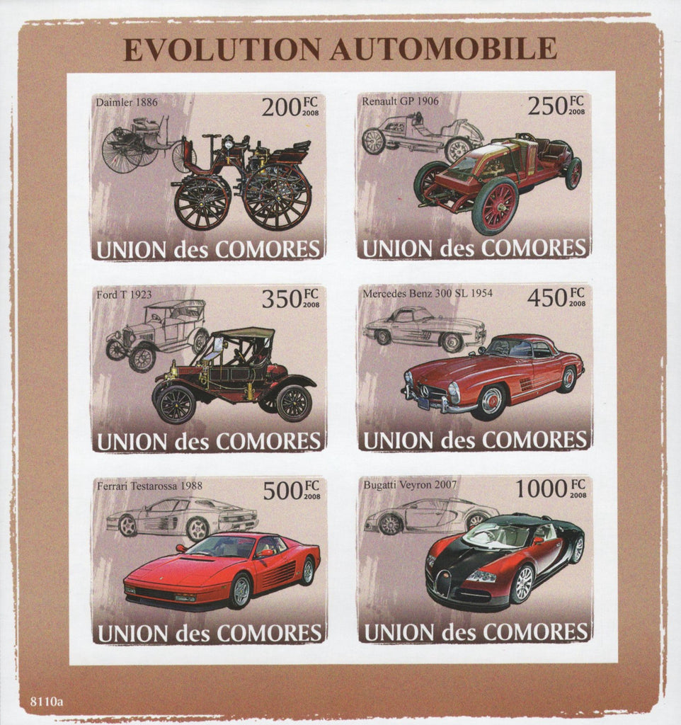 Automobile Evolution Imperforated Sov. Sheet of 6 Stamps MNH