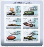 Famous Submarines Ocean Imperforated Sov. Sheet of 6 Stamps MNH
