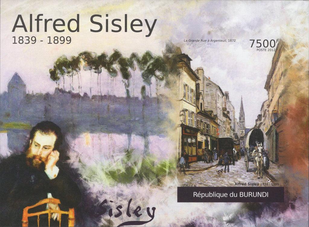Famous Painter Alfred Sisley Horses City Imperforated Sov. Sheet MNH