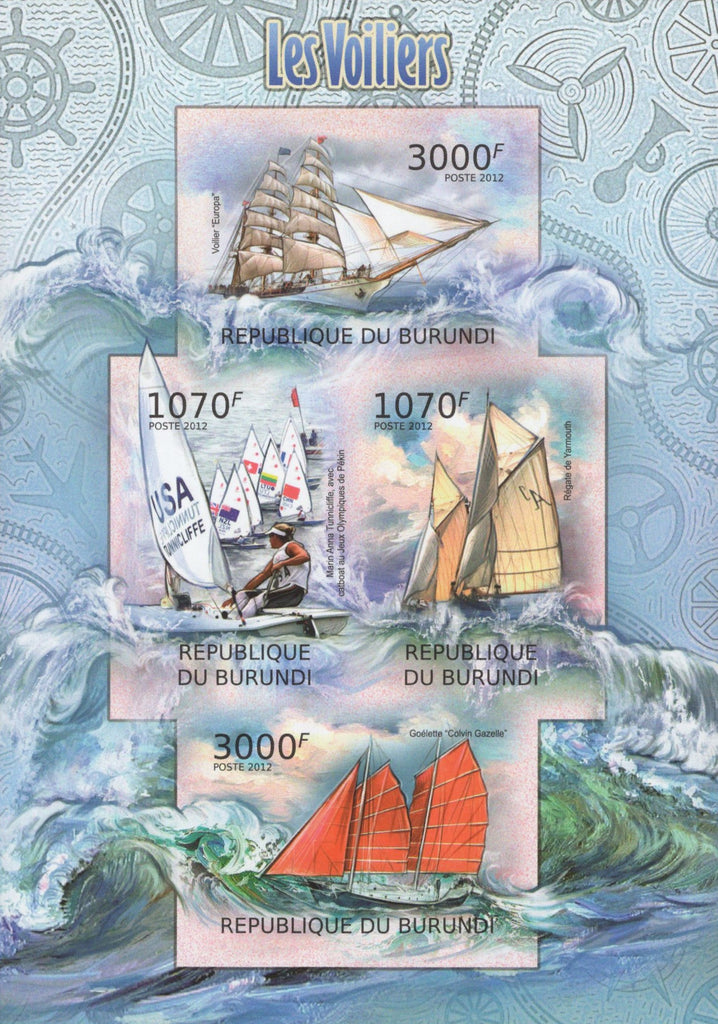 Sailboats Ocean Waves Marine Imperforated Sov. Sheet of 4 Stamps MNH