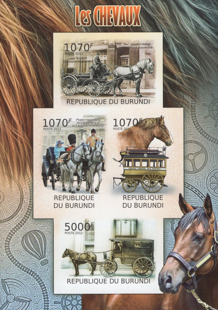 Horses Drawn Carriage Imperforated Souvenir Sheet of 4 Stamps MNH