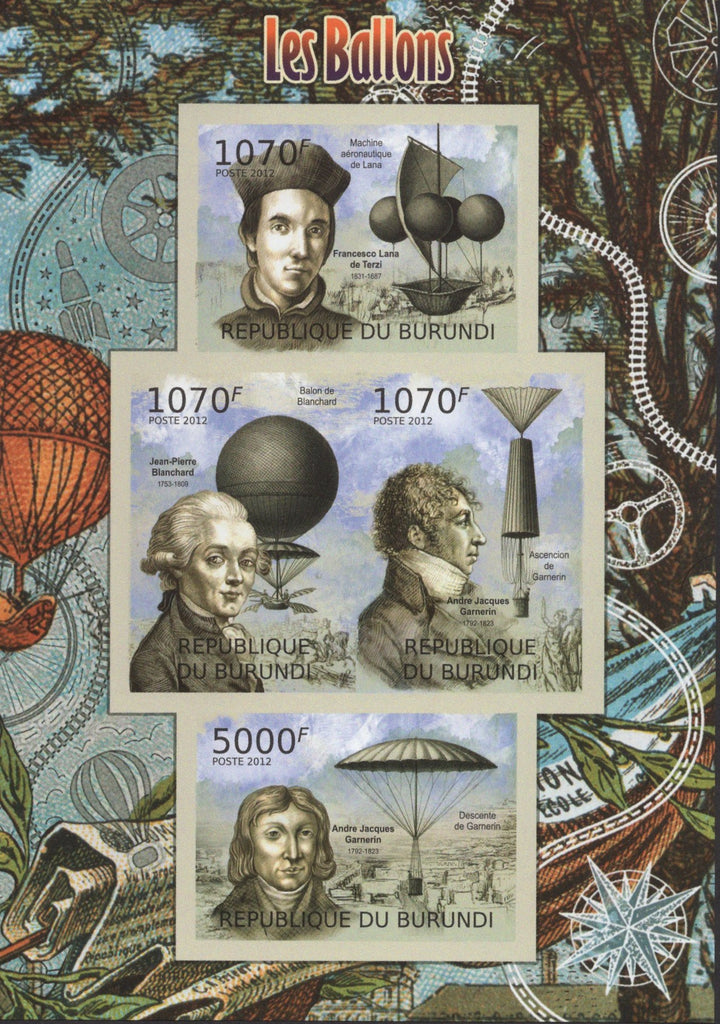Hot Air Balloon Imperforated Souvenir Sheet of 4 Stamps MNH