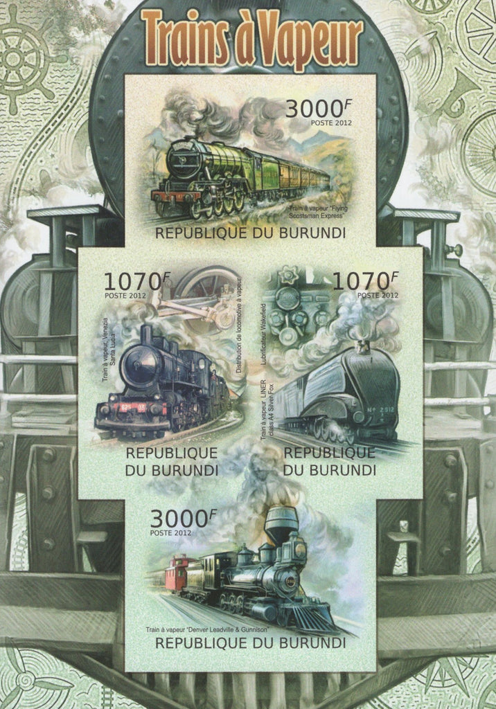 Vapor Trains Transportation Imperforated Souvenir Sheet of 4 Stamps MNH