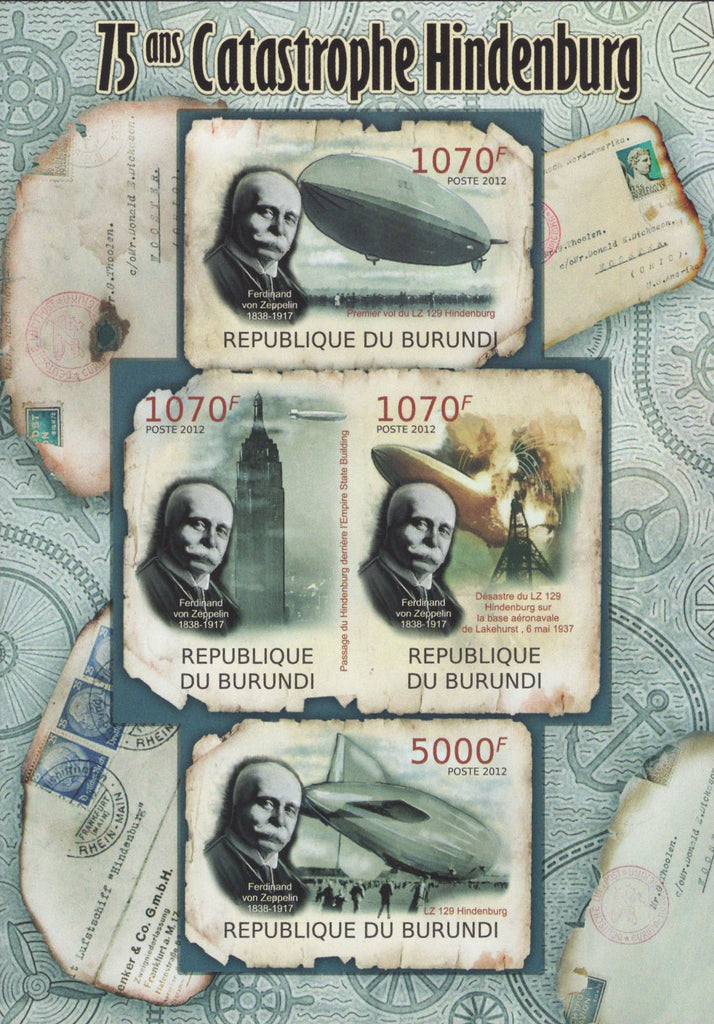 Hindenburg Catastrophe Imperforated Souvenir Sheet of 4 Stamps MNH