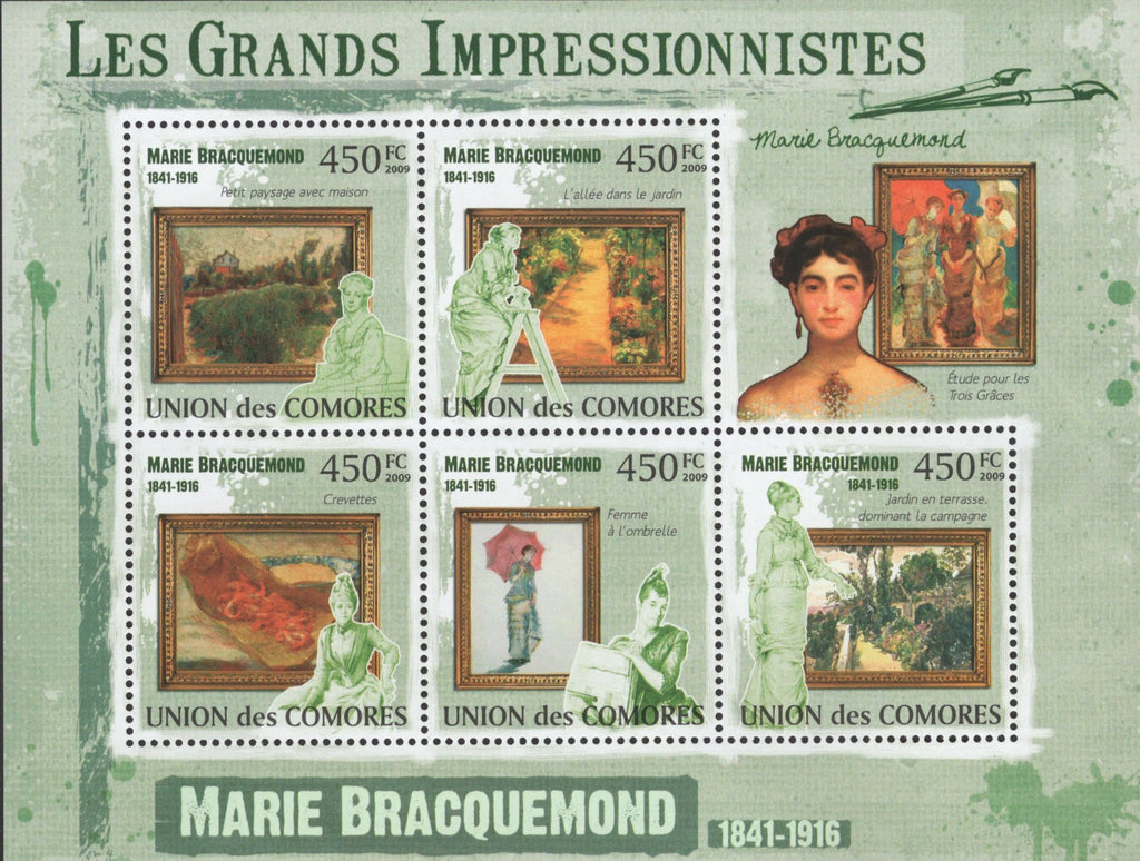 Impressionist Marie Bracquemond Sov. Sheet of 5 Stamps MNH