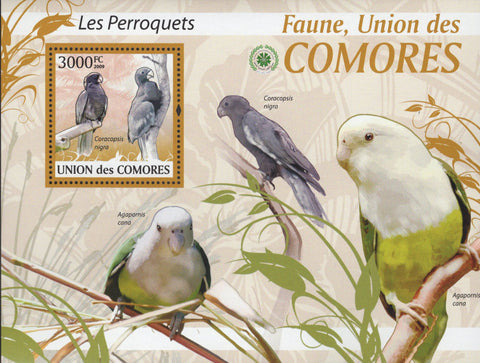 Comoros Fauna Parrots Birds Souvenir Sheet Mint NH