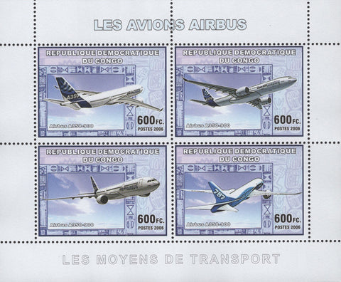 Airplanes Airbus Souvenir Sheet of 4 Stamps Mint NH MNH