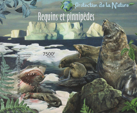 Fauna Nature Sharks Seals Ocean Ice Imperforated Sov. Sheet MNH