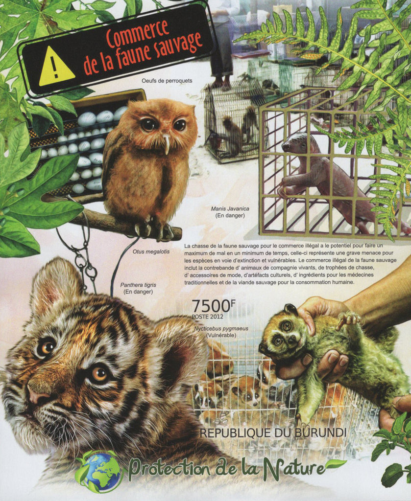Wild Fauna Commerce Owl Monkey Tiger Imperforated Sov. Sheet MNH