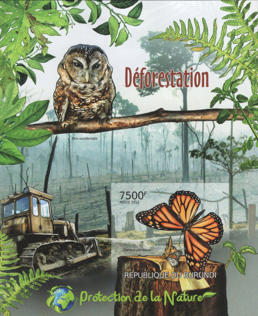 Deforestation Owl Butterfly Trees Imperforated Souvenir Sheet MNH