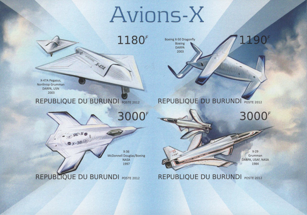 X-Airplanes Space Jets Imperforated Sov. Sheet of 4 Stamps MNH