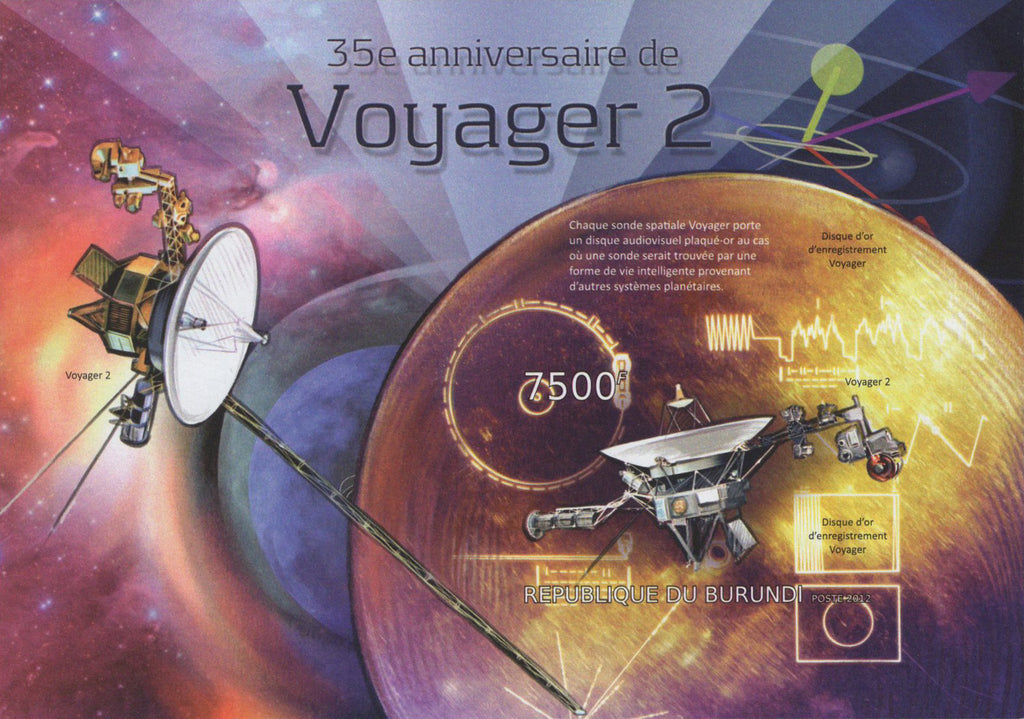 Satellite Voyager 2 Anniversary Space Imperforated Sov. Sheet MNH