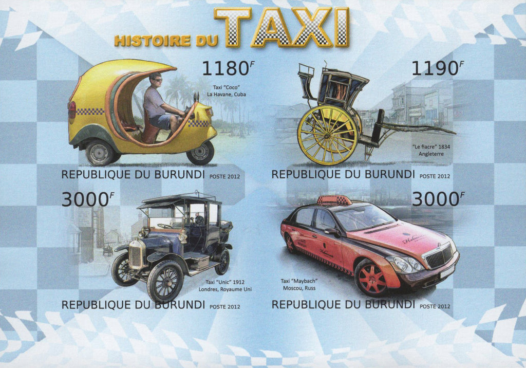 Taxi History Transportation Car Imperforated Sov. Sheet of 4 Stamps MNH