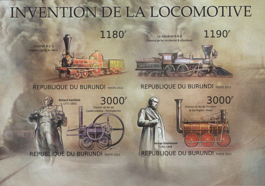 Locomotive Invention Trains Imperforated Sov. Sheet of 4 Stamps MNH