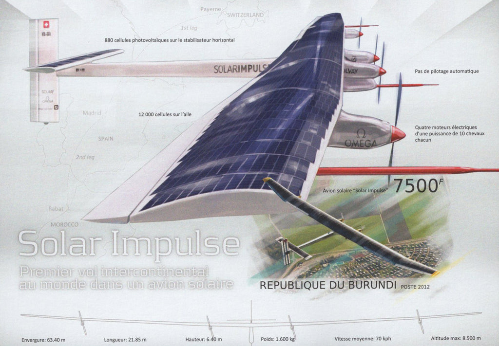 Solar Airplane Impulse Imperforated Sov. Sheet MNH