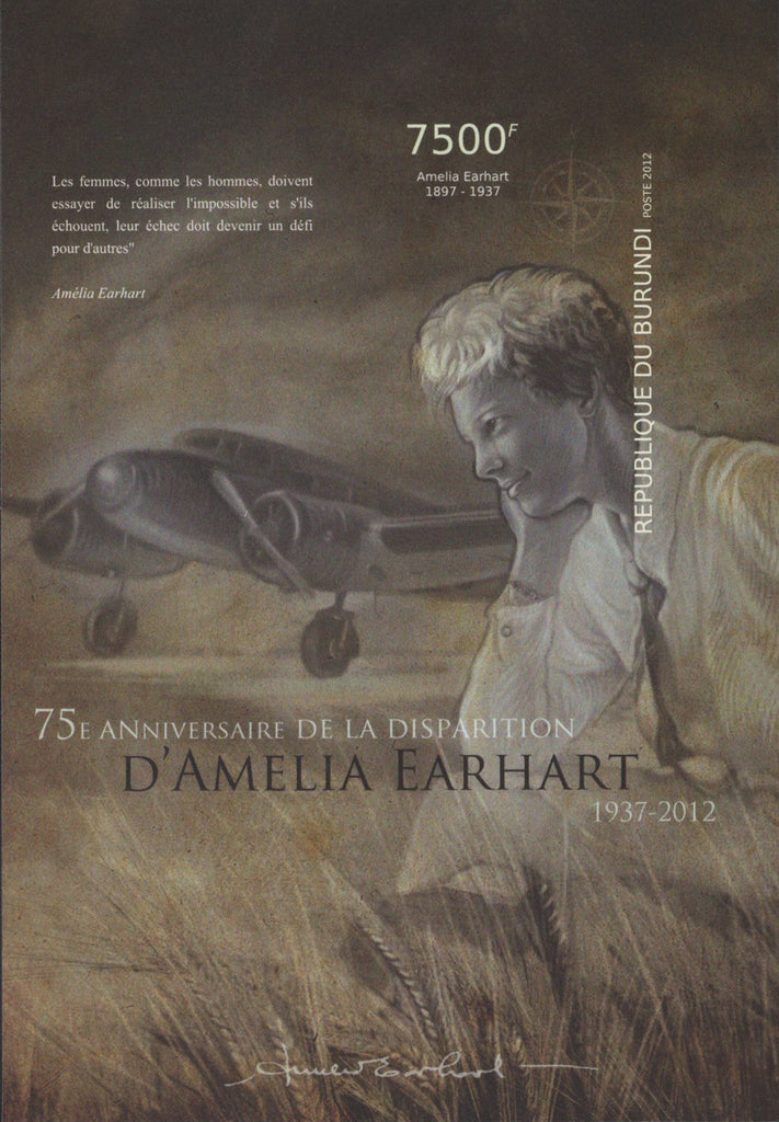 D'Amelia Earhart Anniversary Imperforated Sov. Sheet  MNH