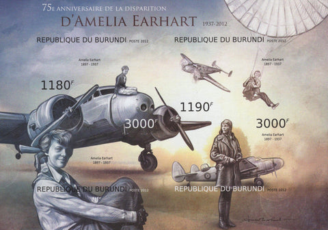 Amelia Earhart Airplanes Imperforated Sov. Sheet of 4 Stamps MNH