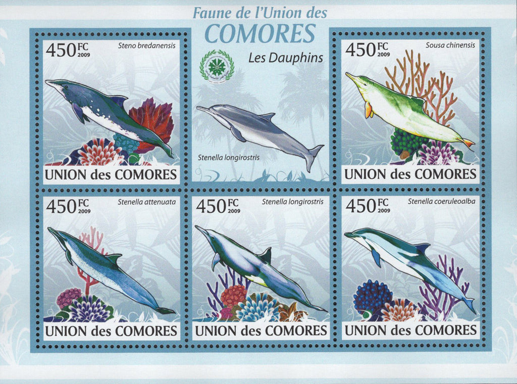 Fauna Dolphins Marine Sov. Sheet of 5 Stamps MNH