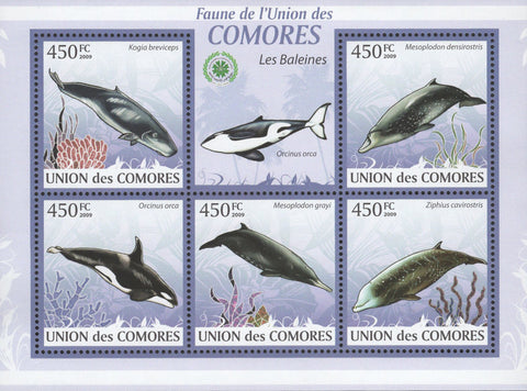 Marine Fauna Whales Ocean Sov. Sheet of 5 Stamps MNH
