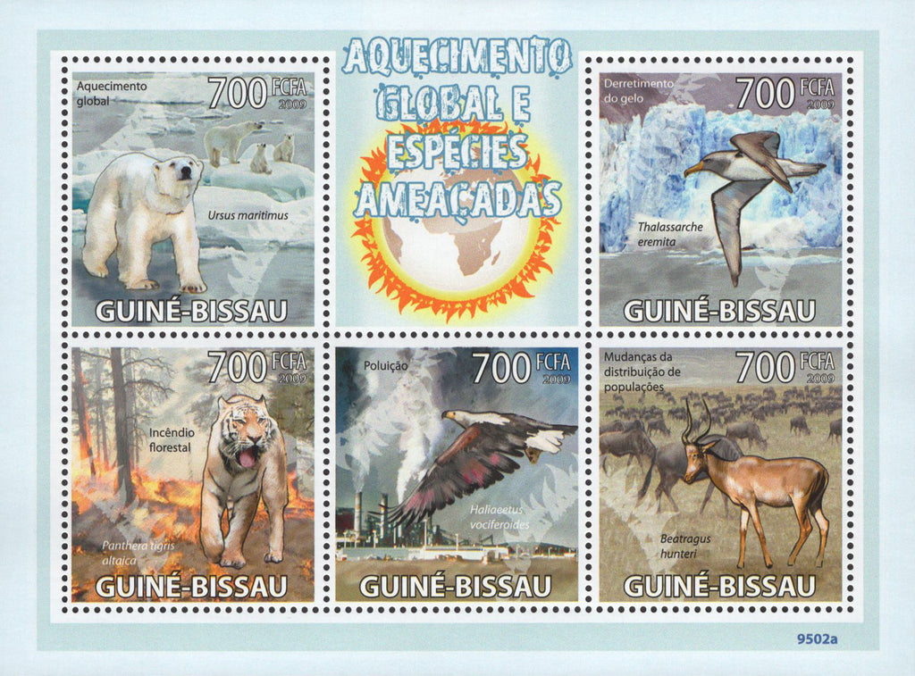 Global Warming Threatened Species Sov. Sheet of 5 Stamps MNH