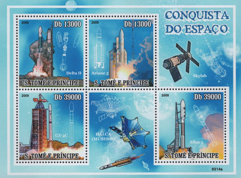 Space Conquer Rockets Sov. Sheet of 4 Stamps MNH