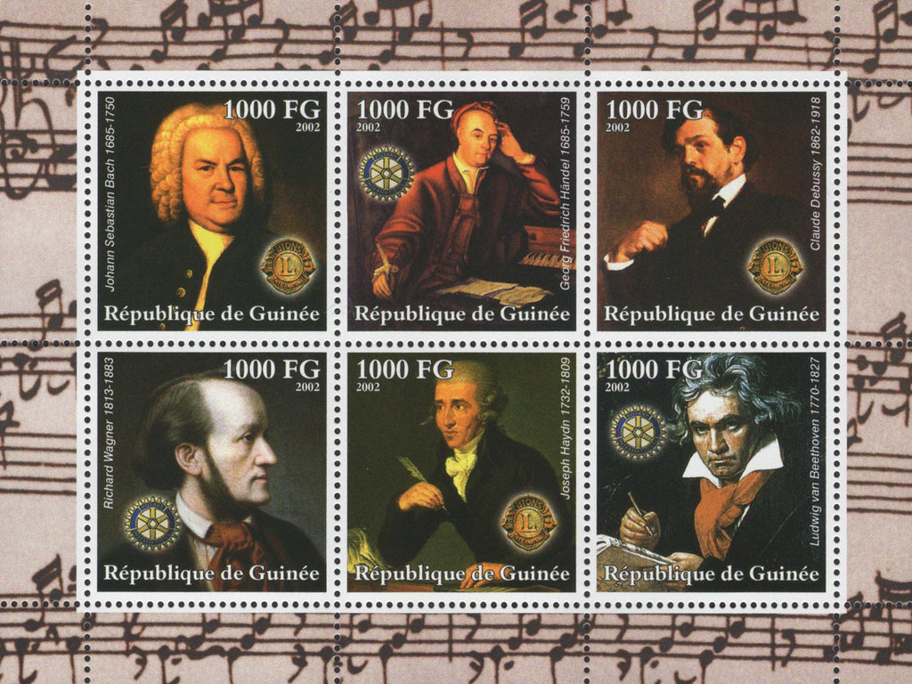 Musicians Composer Impressionist Sov. Sheet of 6 Stamps MNH