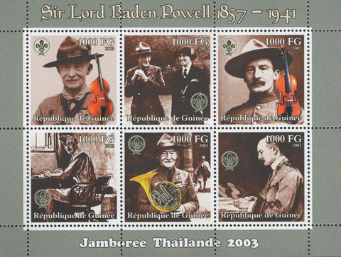 Sir Lord Baden Powell Music Thailand Sov. Sheet of 6 Stamps MNH