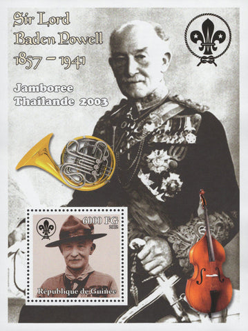 Sir Lord Baden Powell Scout Violin Jamboree Thailand Sov. Sheet MNH