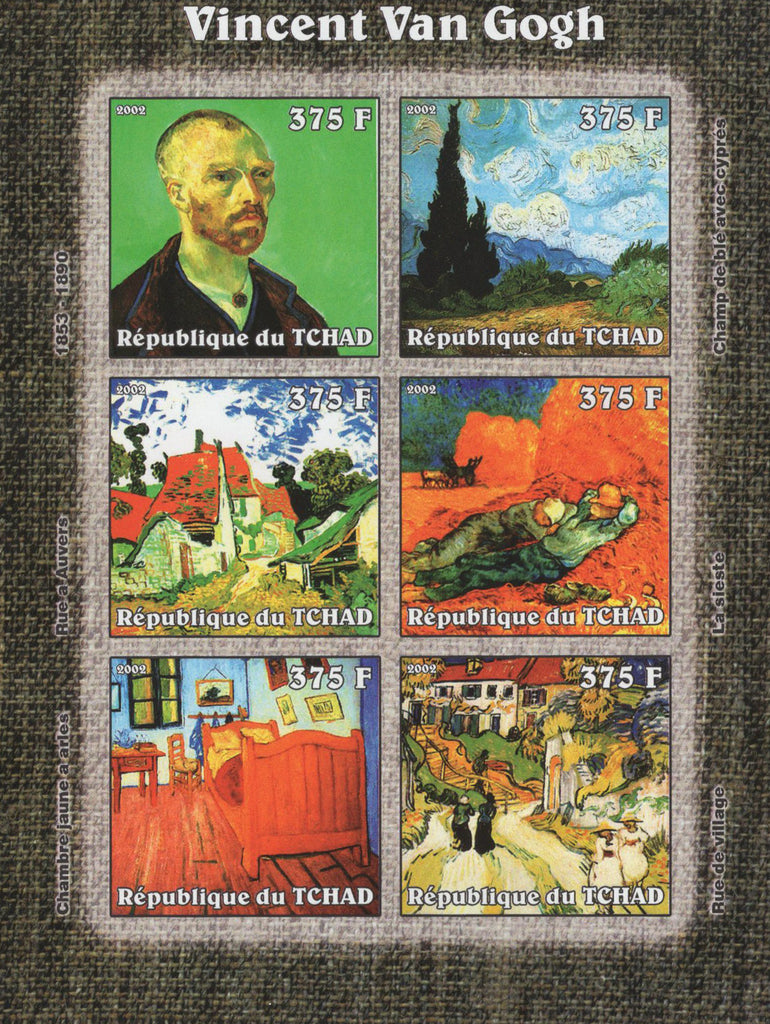 Famous Painter Vincent Van Gogh Imperforated Souvenir Sheet of 6 Stamps