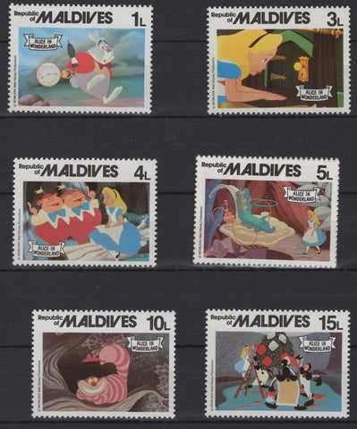 Maldives Disney Stamps Alice in Wonderland Serie Set of 6 Stamps Mint NH