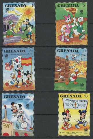 Grenada Disney Stamps Olympics Sports Serie Set of 6 Stamps Mint NH