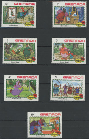 Grenada Disney Stamps Robin Hood Serie Set of 7 Stamps Mint NH