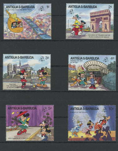 Antigua Disney Stamps Places France Serie Set of 6 Stamps Mint NH