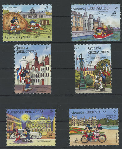 Grenada Disney Stamps Historical Places France Serie Set of 6 Stamps Mint NH