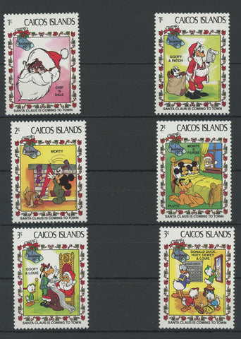 Caicos Disney Stamps Santa Claus is Coming to Town Serie Set of 6 Stamps Mint NH