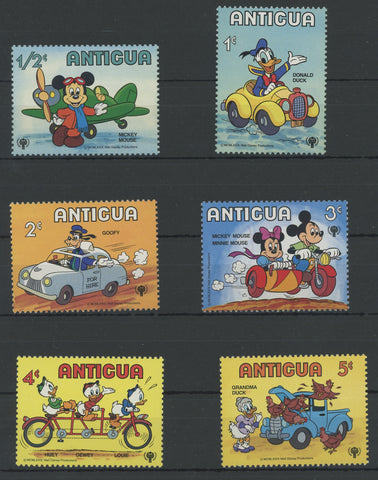 Antigua Disney Stamps Means of Transportation Serie Set of 6 Stamps Mint NH