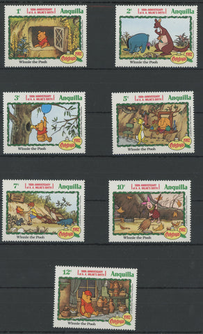 Anguilla Disney Stamps Christmas Winnie the Pooh Serie Set of 7 Stamps Mint NH
